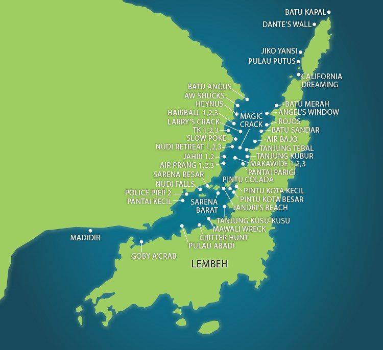 mapa puntos buceo lembeh