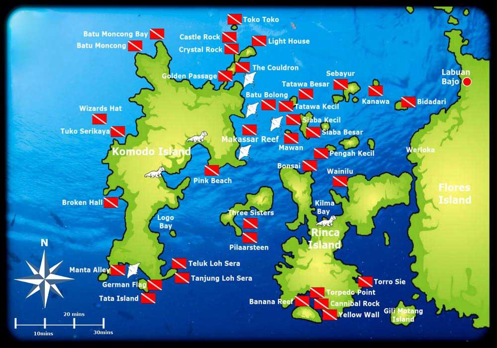 mapa puntos de buceo komodo